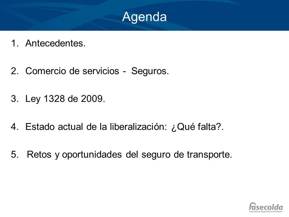 Agenda Antecedentes. Comercio de servicios - Seguros.