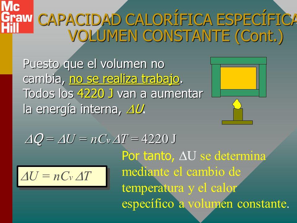 CAPACIDAD CALORÍFICA ESPECÍFICA A VOLUMEN CONSTANTE (Cont.)