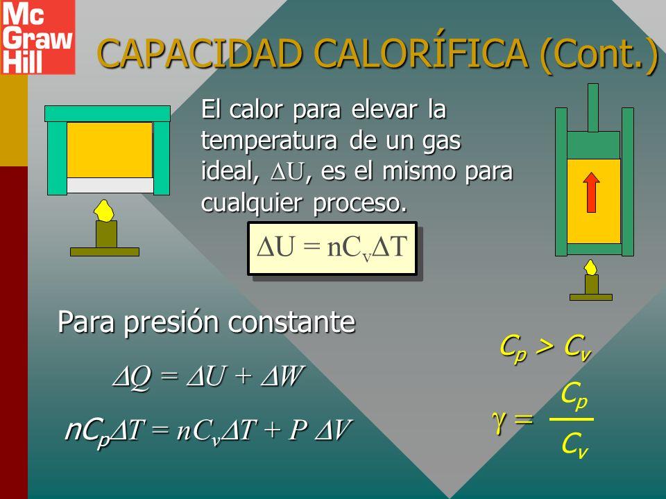 CAPACIDAD CALORÍFICA (Cont.)