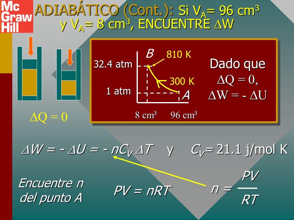 ADIABÁTICO (Cont.): Si VA= 96 cm3 y VA= 8 cm3, ENCUENTRE W