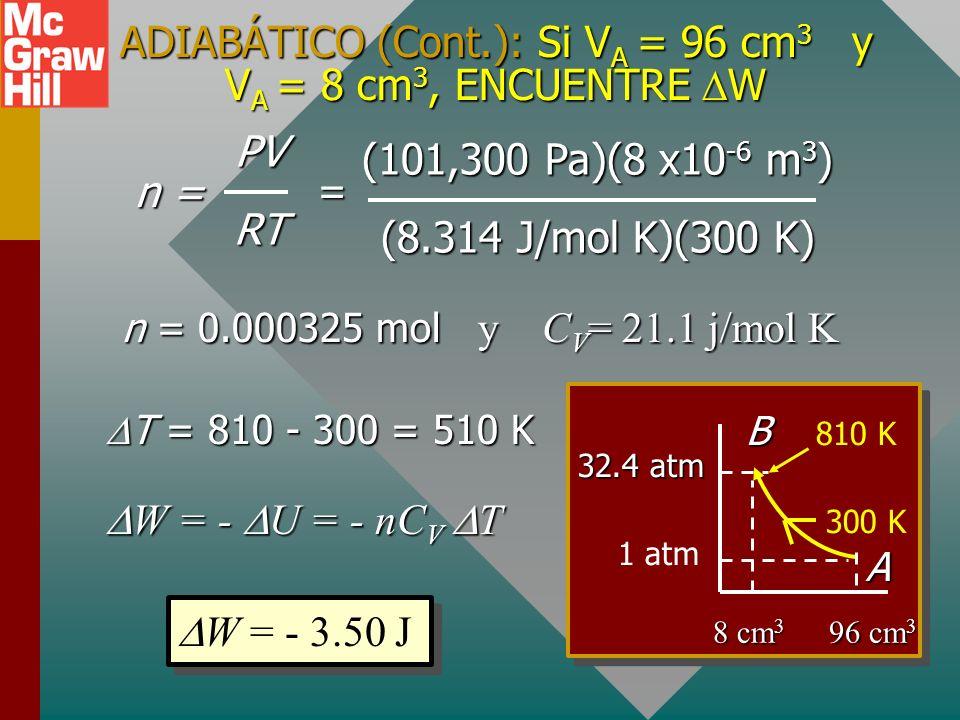 ADIABÁTICO (Cont.): Si VA = 96 cm3 y VA = 8 cm3, ENCUENTRE W