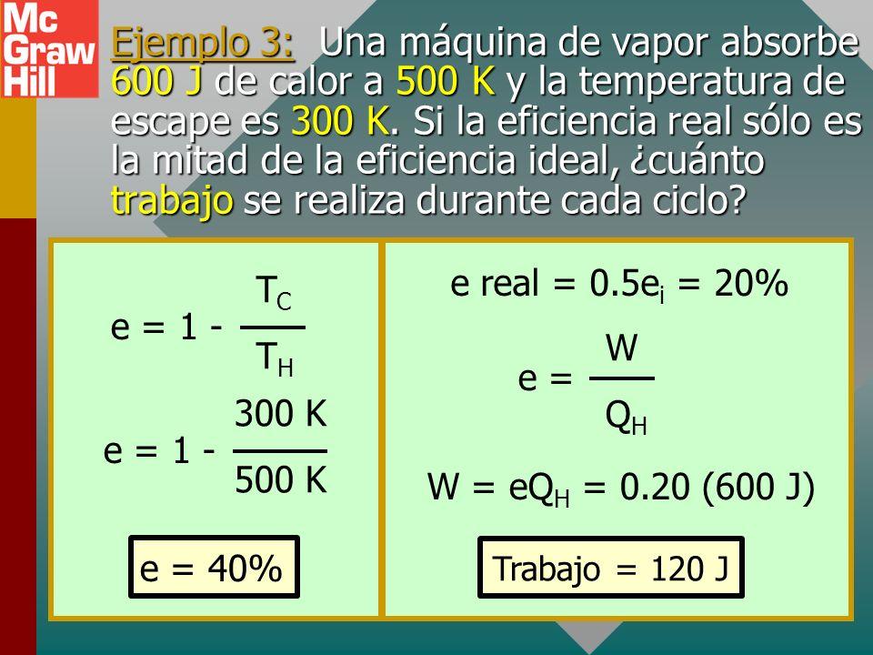 Ejemplo 3: Una máquina de vapor absorbe 600 J de calor a 500 K y la temperatura de escape es 300 K. Si la eficiencia real sólo es la mitad de la eficiencia ideal, ¿cuánto trabajo se realiza durante cada ciclo