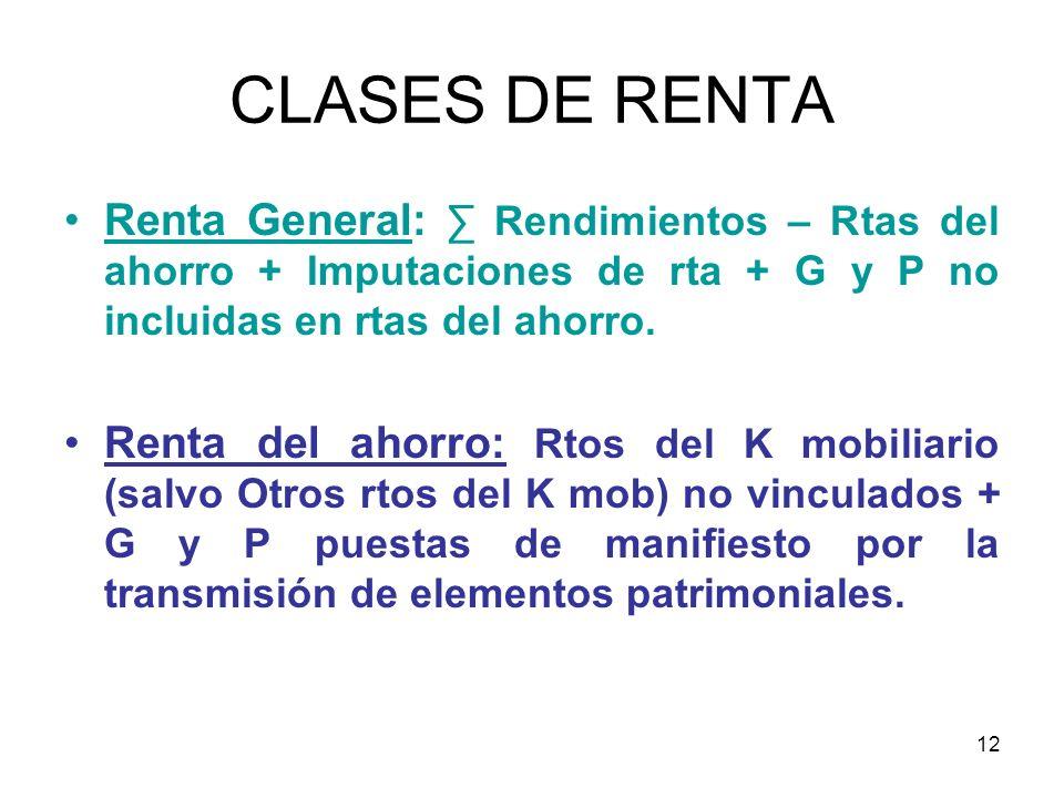 CLASES DE RENTA Renta General: ∑ Rendimientos – Rtas del ahorro + Imputaciones de rta + G y P no incluidas en rtas del ahorro.