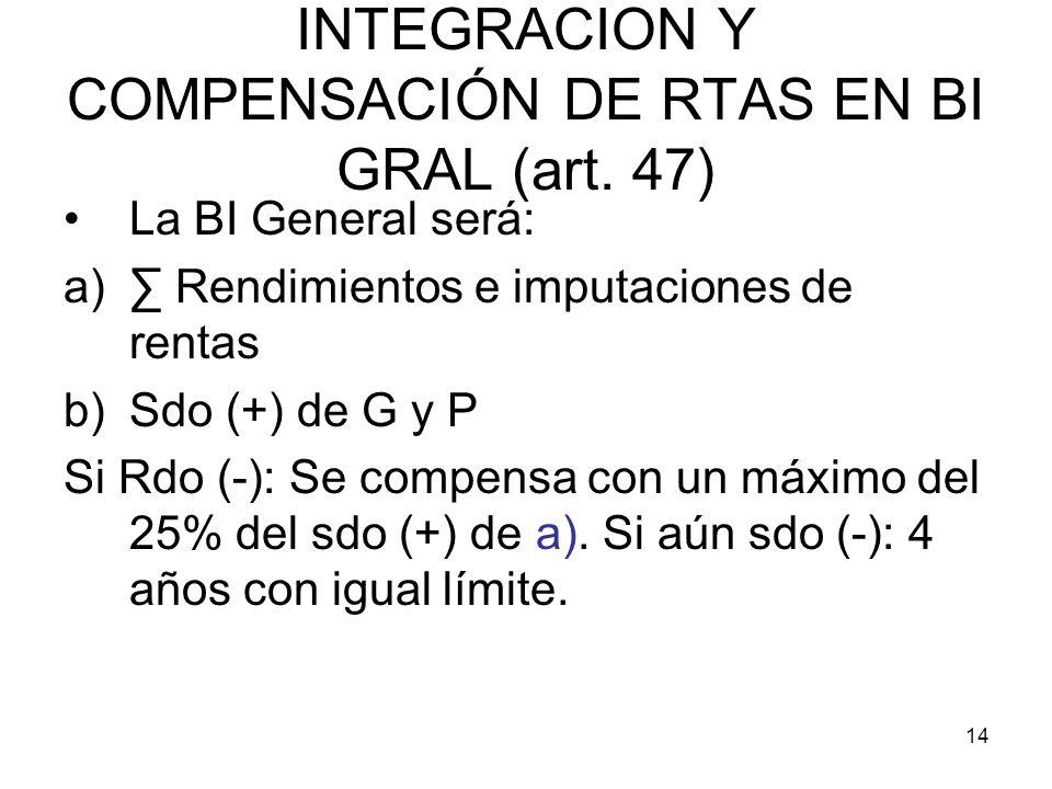 INTEGRACION Y COMPENSACIÓN DE RTAS EN BI GRAL (art. 47)