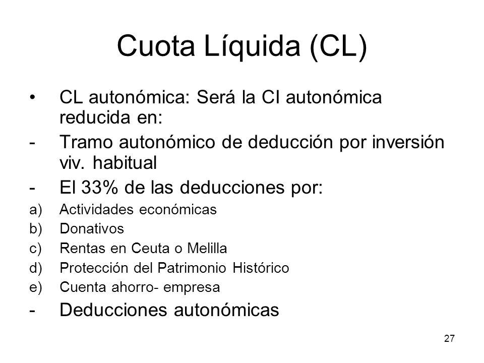 Cuota Líquida (CL) CL autonómica: Será la CI autonómica reducida en: