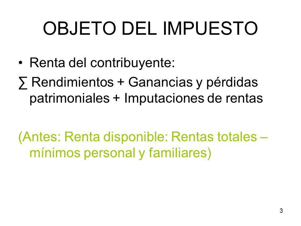 OBJETO DEL IMPUESTO Renta del contribuyente: