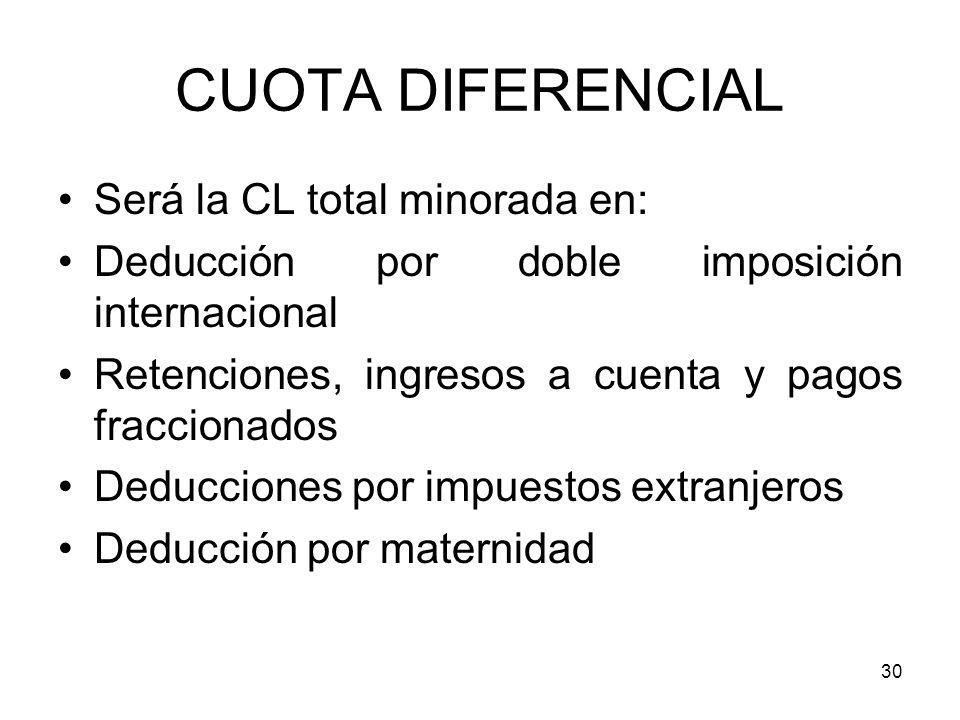 CUOTA DIFERENCIAL Será la CL total minorada en: