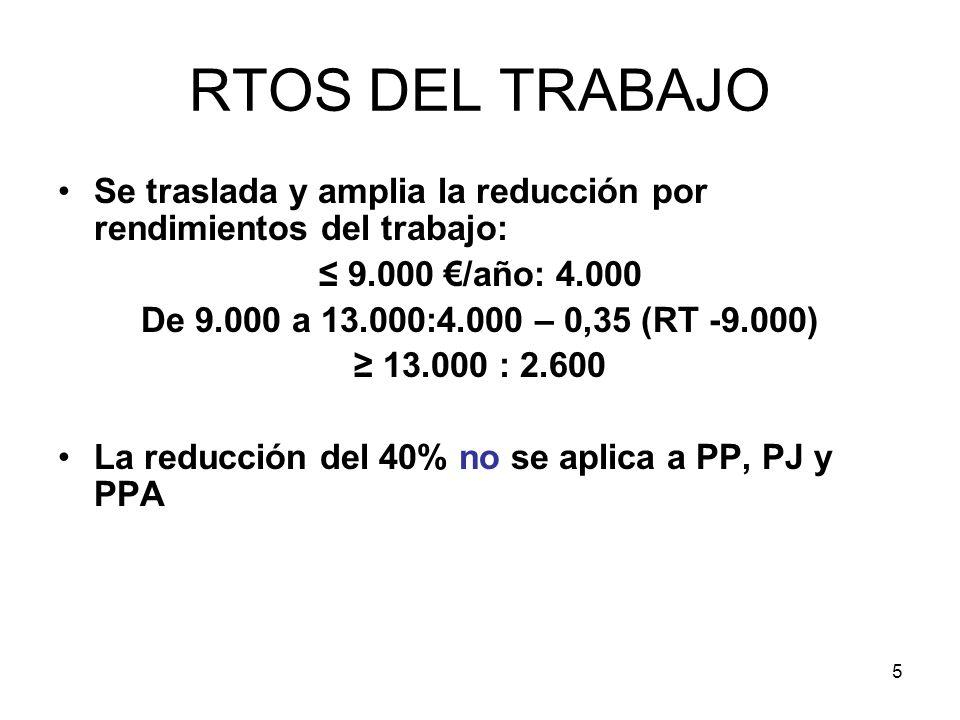 RTOS DEL TRABAJO Se traslada y amplia la reducción por rendimientos del trabajo: ≤ 9.000 €/año: 4.000.