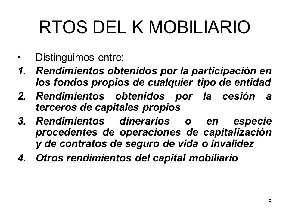 RTOS DEL K MOBILIARIO Distinguimos entre: