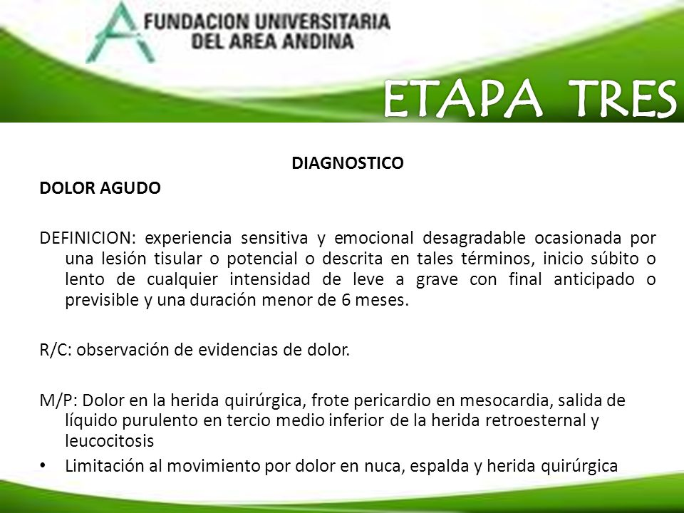 ETAPA TRES DIAGNOSTICO DOLOR AGUDO