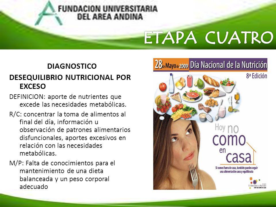 ETAPA CUATRO DIAGNOSTICO DESEQUILIBRIO NUTRICIONAL POR EXCESO