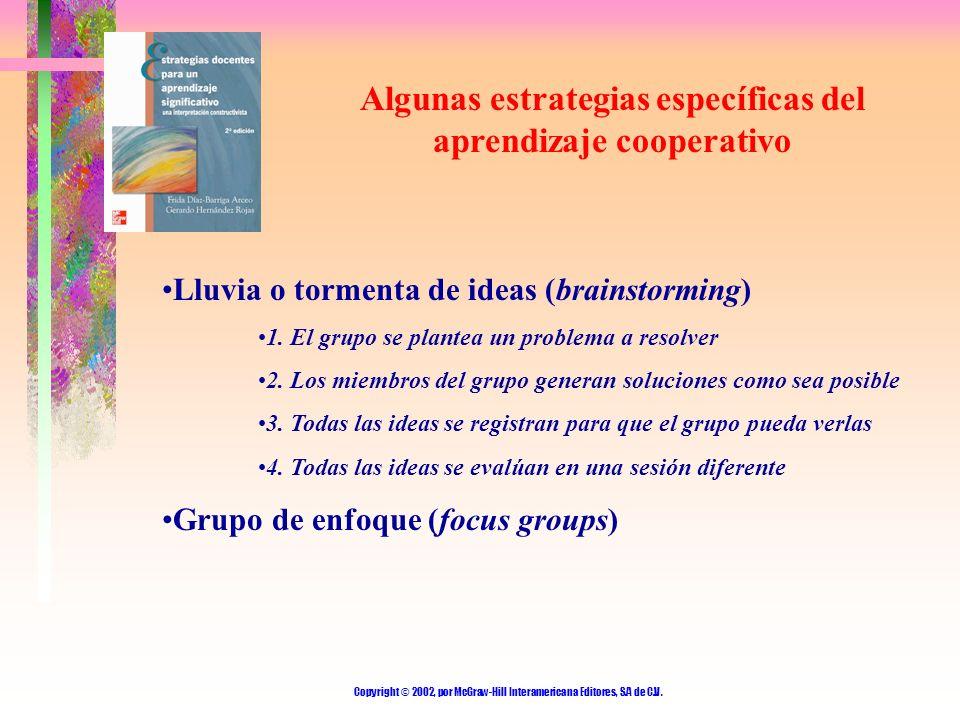 Algunas estrategias específicas del aprendizaje cooperativo