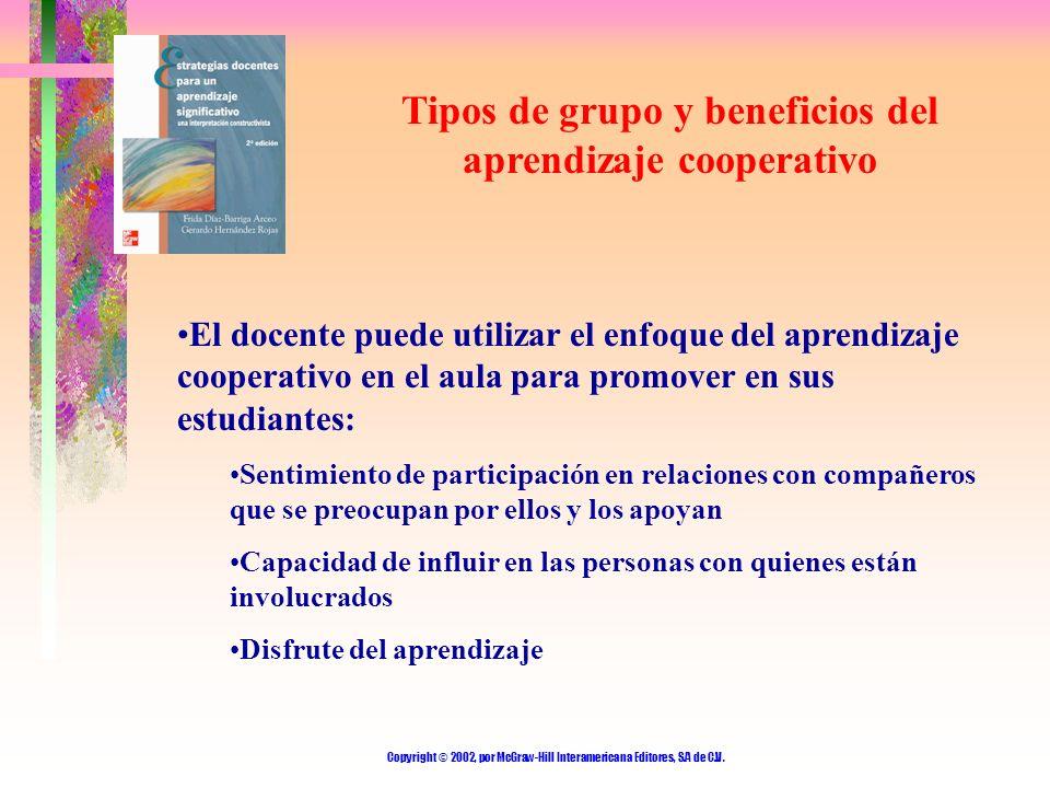 Tipos de grupo y beneficios del aprendizaje cooperativo