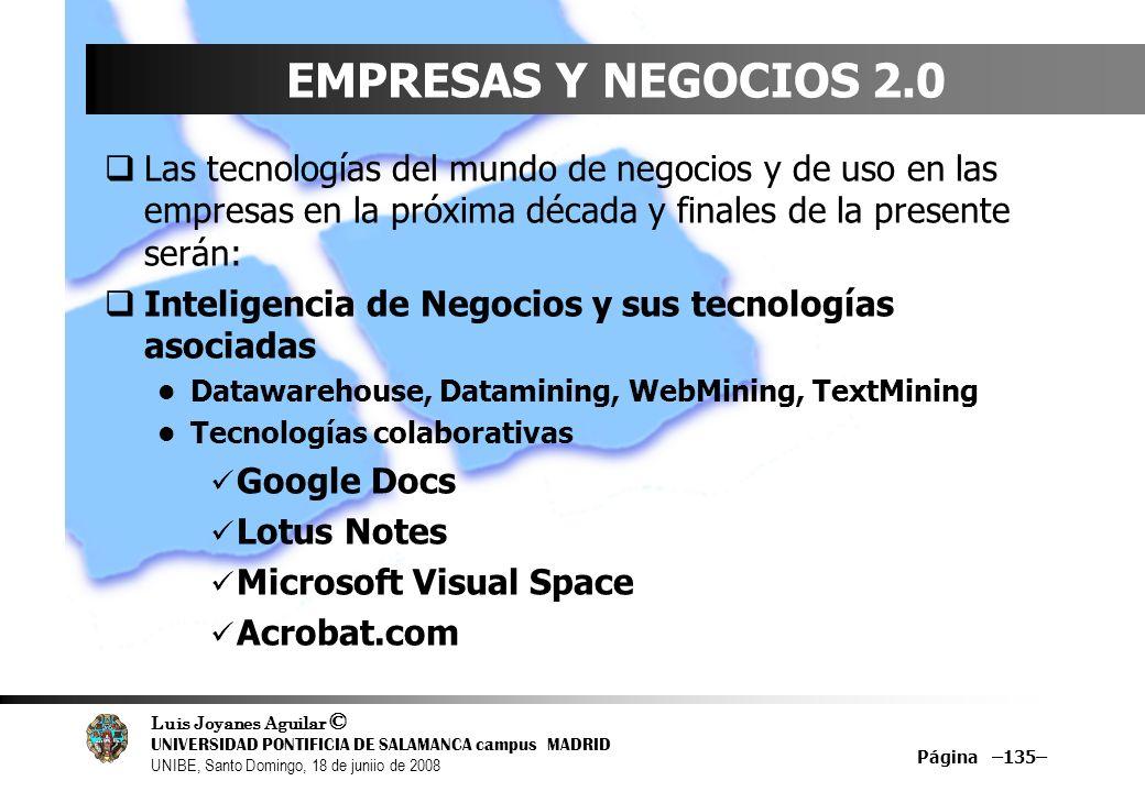 EMPRESAS Y NEGOCIOS 2.0 Las tecnologías del mundo de negocios y de uso en las empresas en la próxima década y finales de la presente serán: