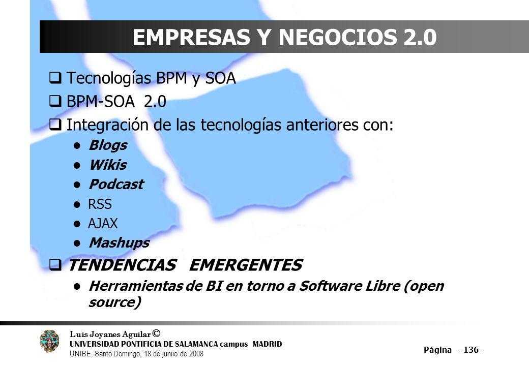 EMPRESAS Y NEGOCIOS 2.0 Tecnologías BPM y SOA BPM-SOA 2.0