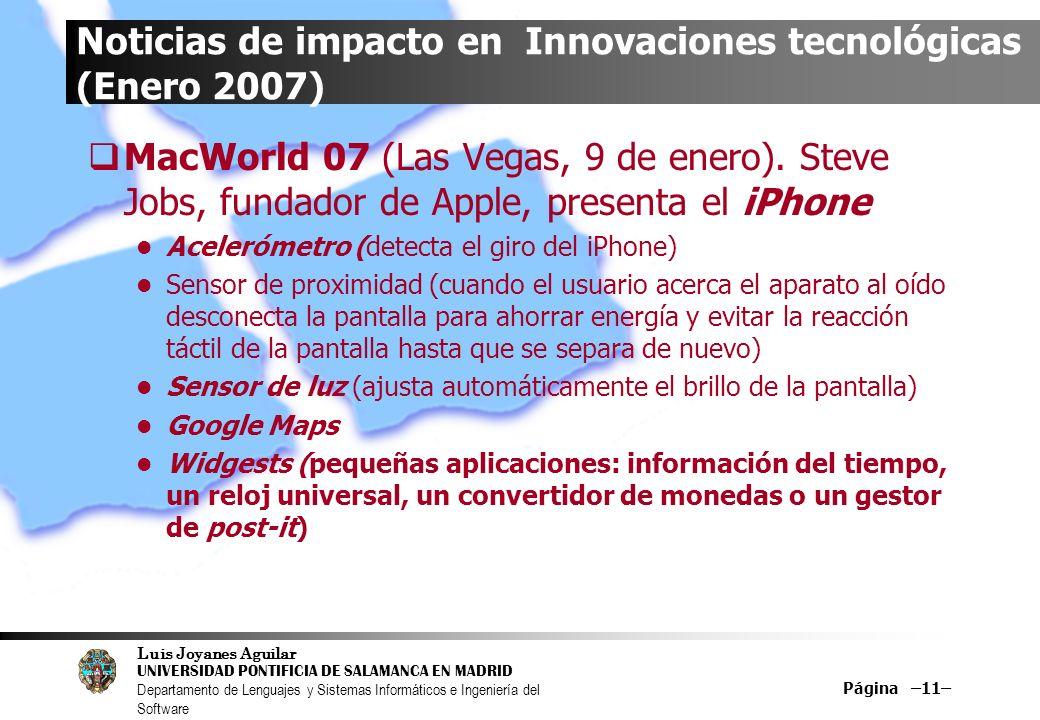 Noticias de impacto en Innovaciones tecnológicas (Enero 2007)