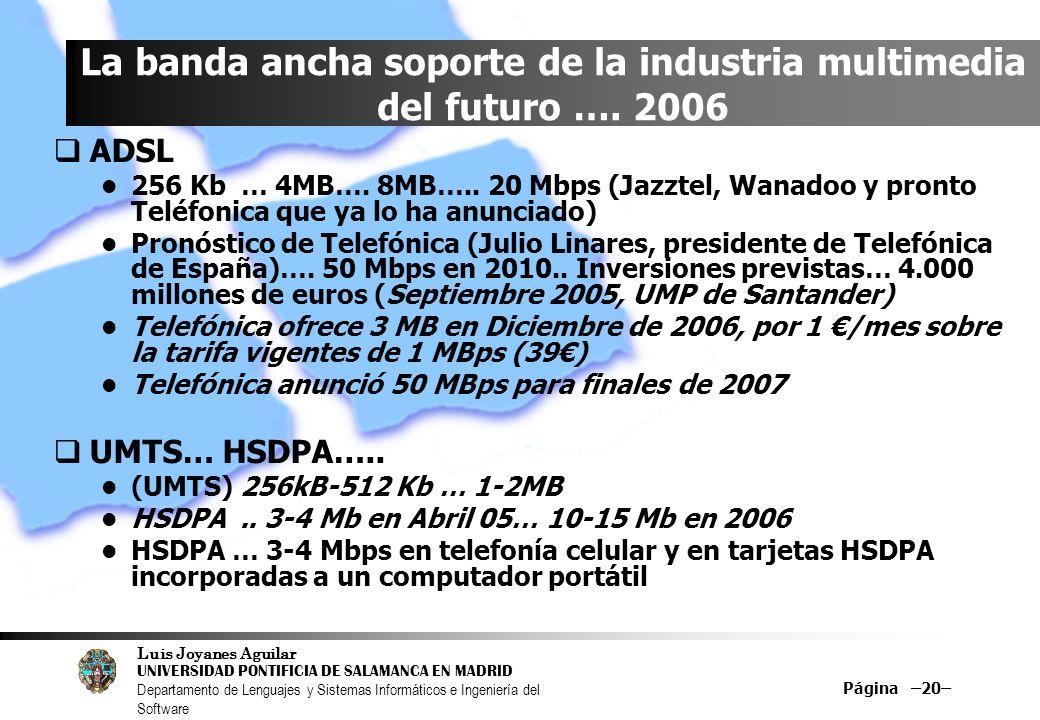 La banda ancha soporte de la industria multimedia del futuro …. 2006