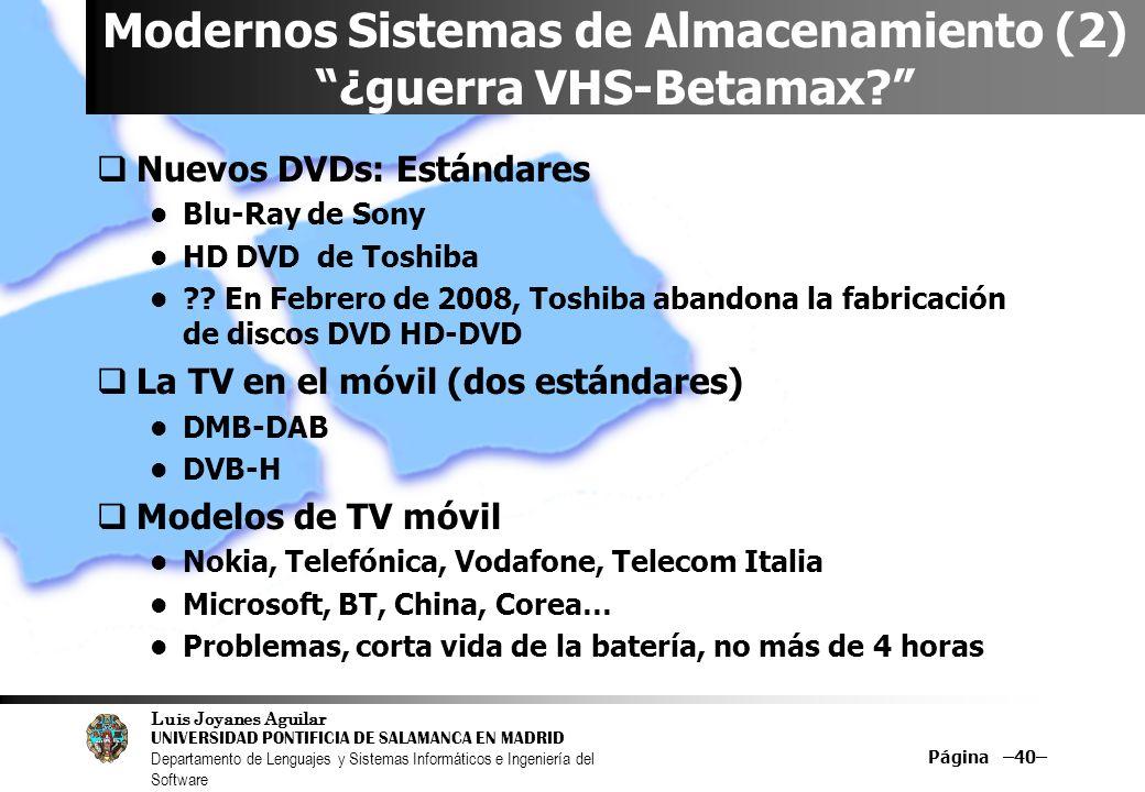 Modernos Sistemas de Almacenamiento (2) ¿guerra VHS-Betamax