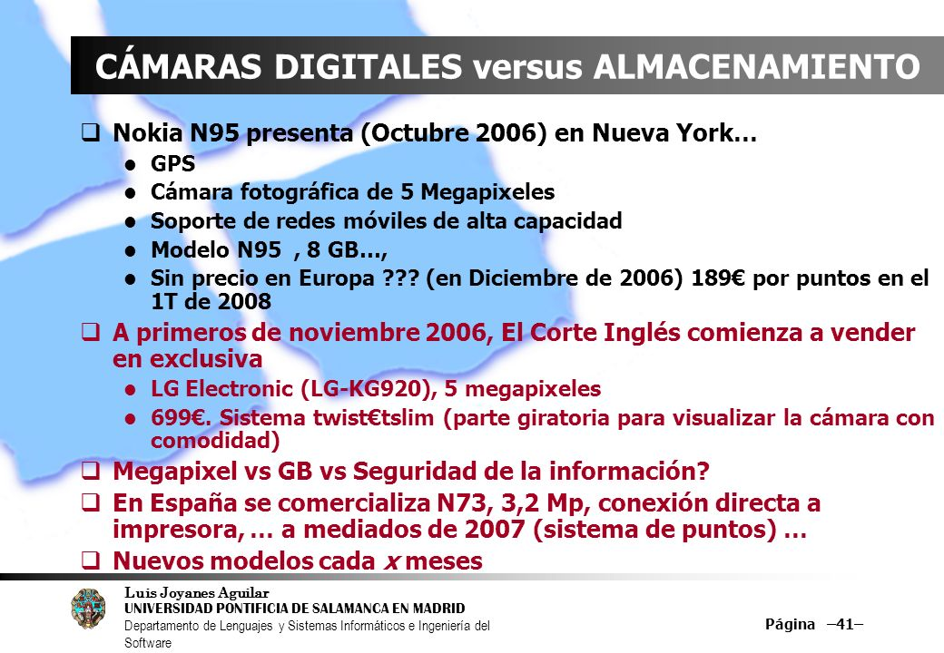 CÁMARAS DIGITALES versus ALMACENAMIENTO