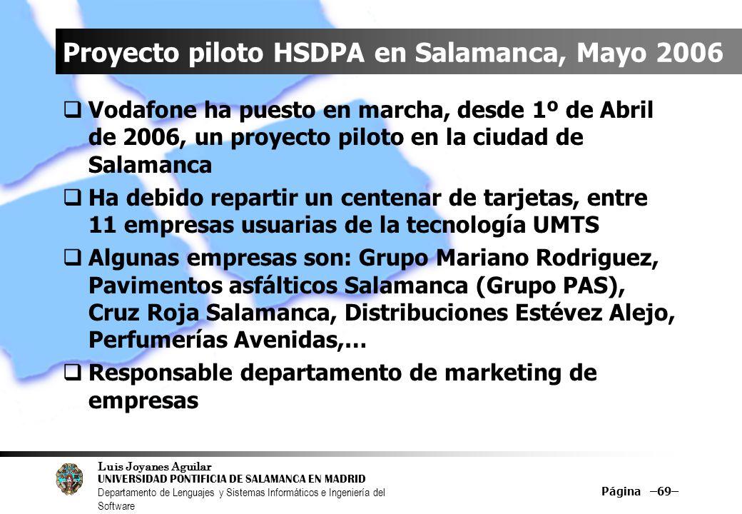 Proyecto piloto HSDPA en Salamanca, Mayo 2006