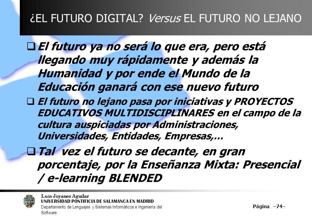 ¿EL FUTURO DIGITAL Versus EL FUTURO NO LEJANO