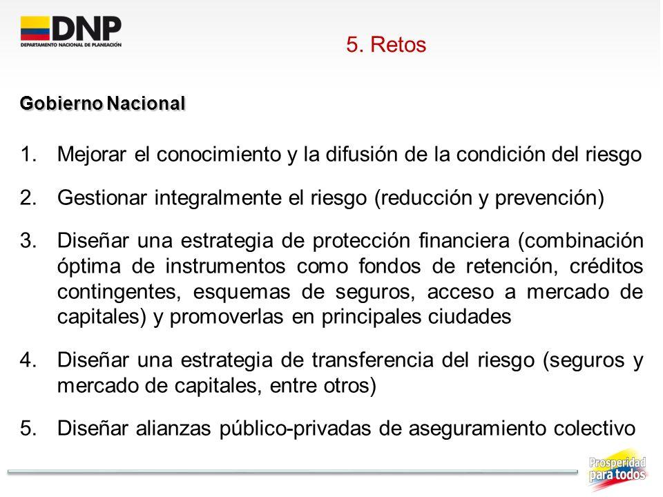 5. Retos Gobierno Nacional. Mejorar el conocimiento y la difusión de la condición del riesgo.