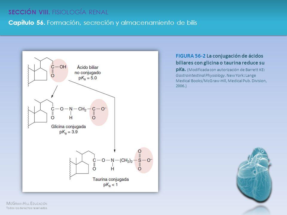 FIGURA 56-2 La conjugación de ácidos biliares con glicina o taurina reduce su pKa.