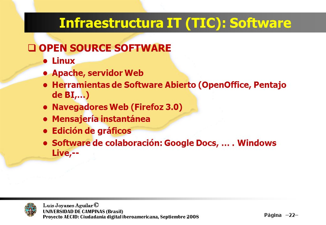 Infraestructura IT (TIC): Software