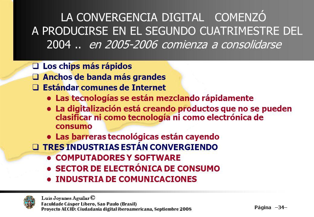LA CONVERGENCIA DIGITAL COMENZÓ A PRODUCIRSE EN EL SEGUNDO CUATRIMESTRE DEL 2004 .. en 2005-2006 comienza a consolidarse