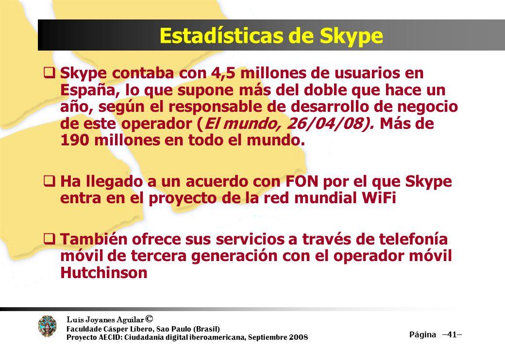 Estadísticas de Skype