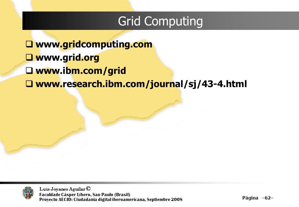 Grid Computing www.gridcomputing.com www.grid.org www.ibm.com/grid