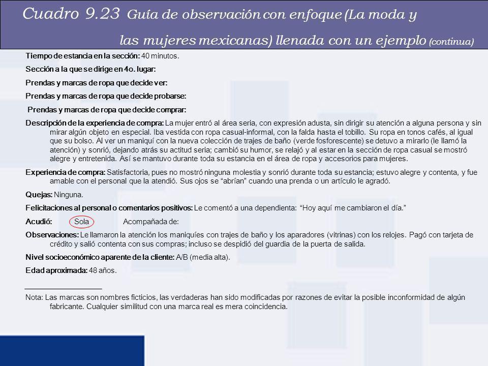 Cuadro 9.23 Guía de observación con enfoque (La moda y