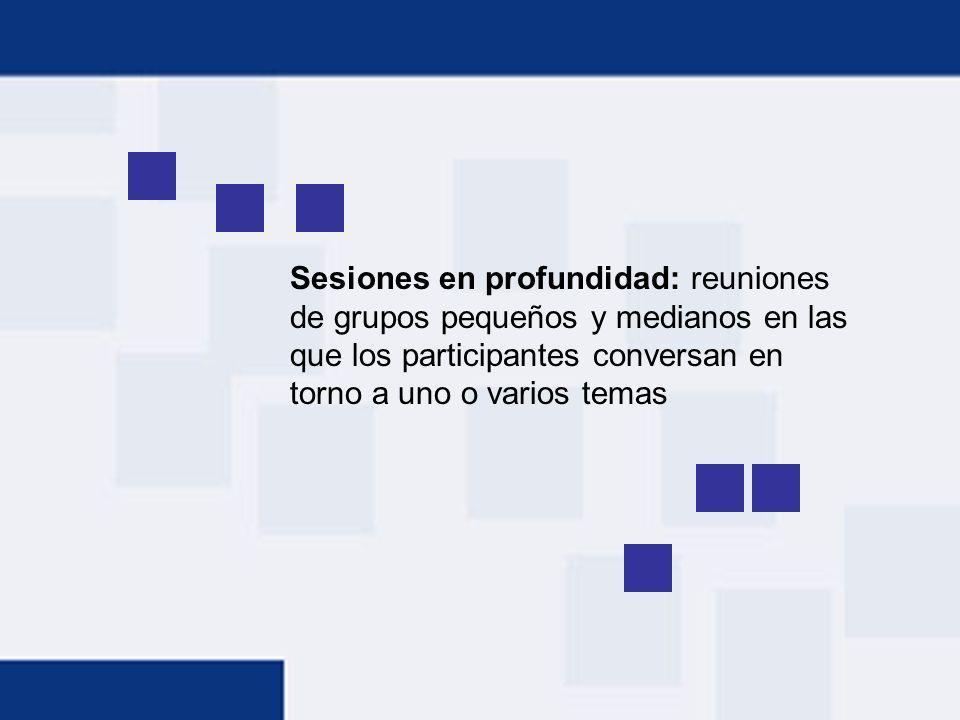 Sesiones en profundidad: reuniones de grupos pequeños y medianos en las que los participantes conversan en torno a uno o varios temas