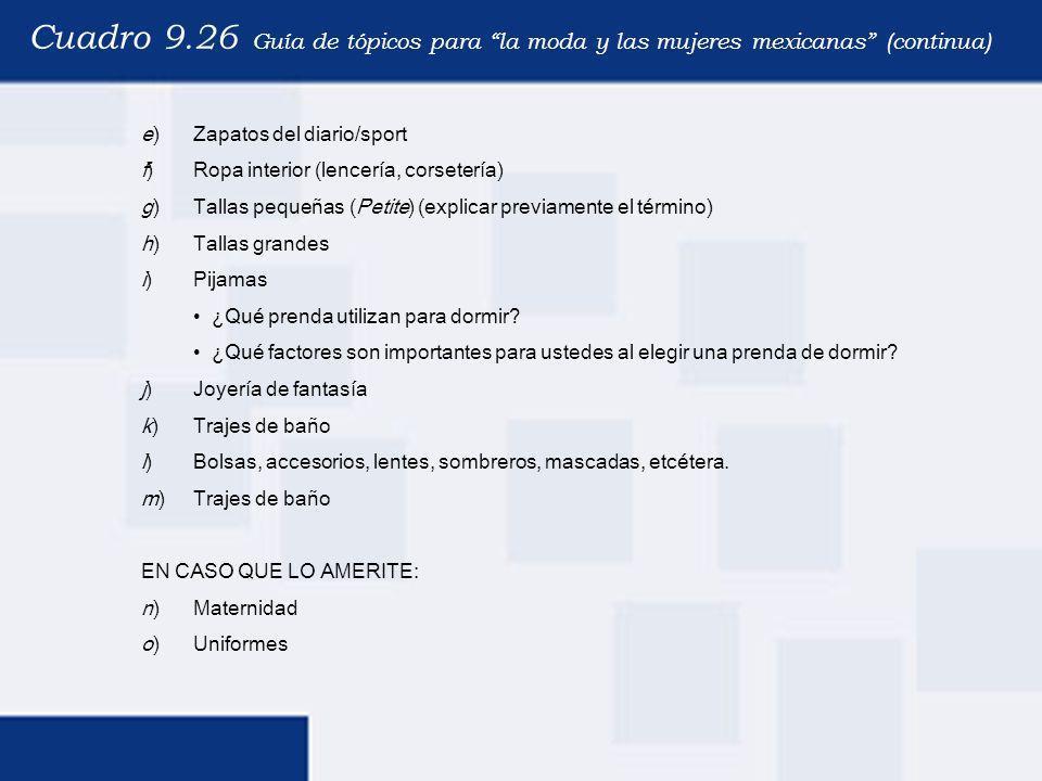 Cuadro 9.26 Guía de tópicos para la moda y las mujeres mexicanas (continua)