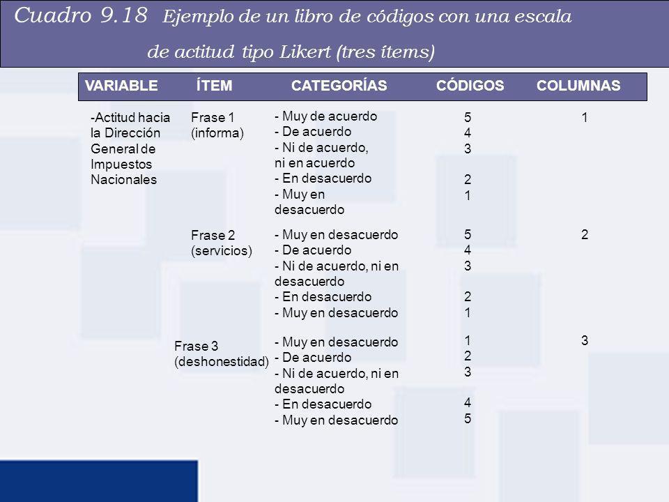 Cuadro 9.18 Ejemplo de un libro de códigos con una escala