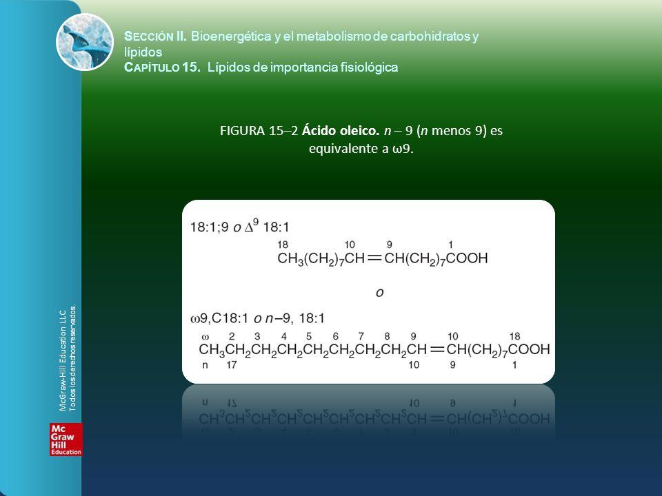 FIGURA 15–2 Ácido oleico. n – 9 (n menos 9) es equivalente a ω9.
