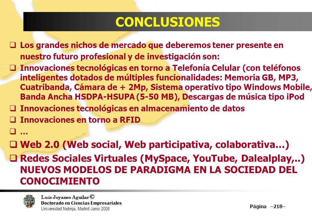 CONCLUSIONES Web 2.0 (Web social, Web participativa, colaborativa…)