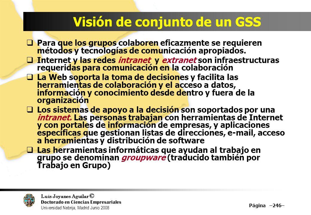 Visión de conjunto de un GSS