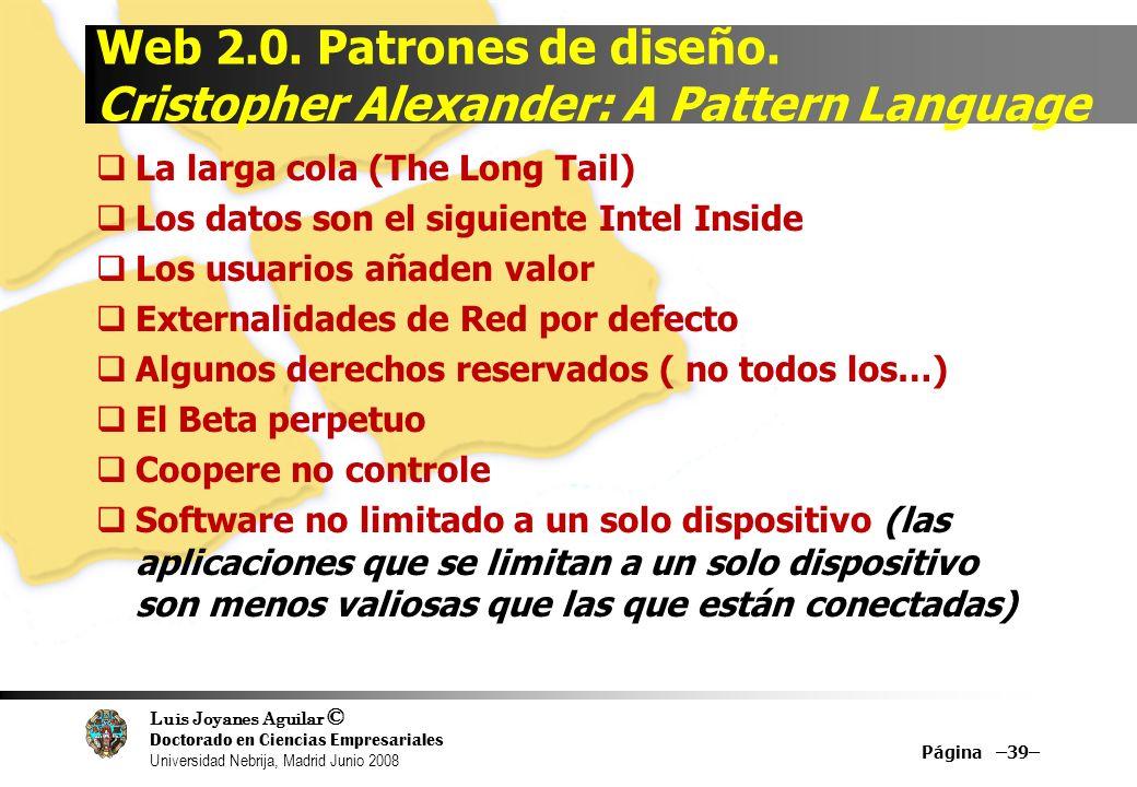 Web 2.0. Patrones de diseño. Cristopher Alexander: A Pattern Language