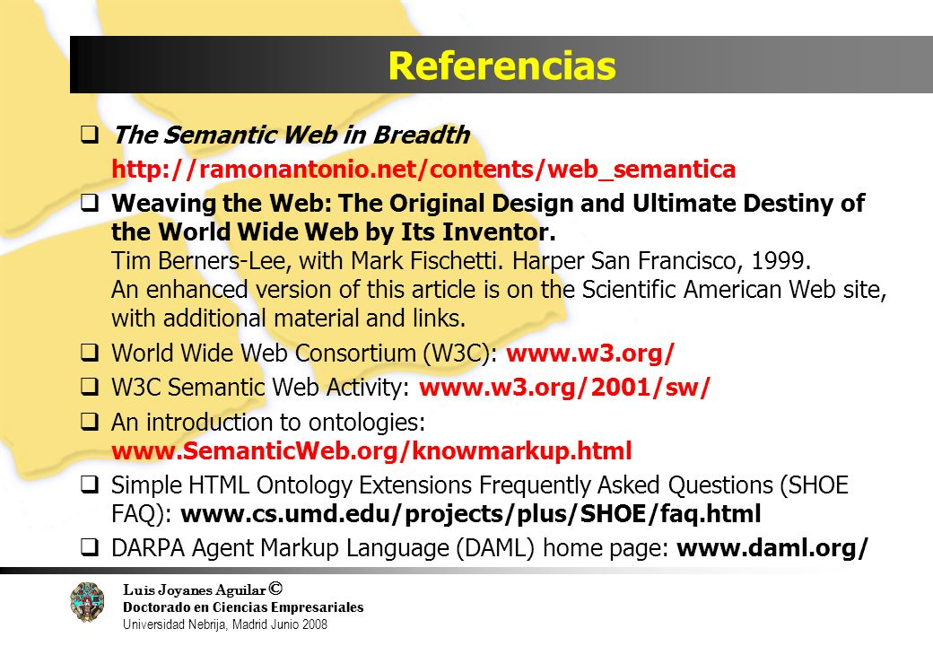 Referencias The Semantic Web in Breadth