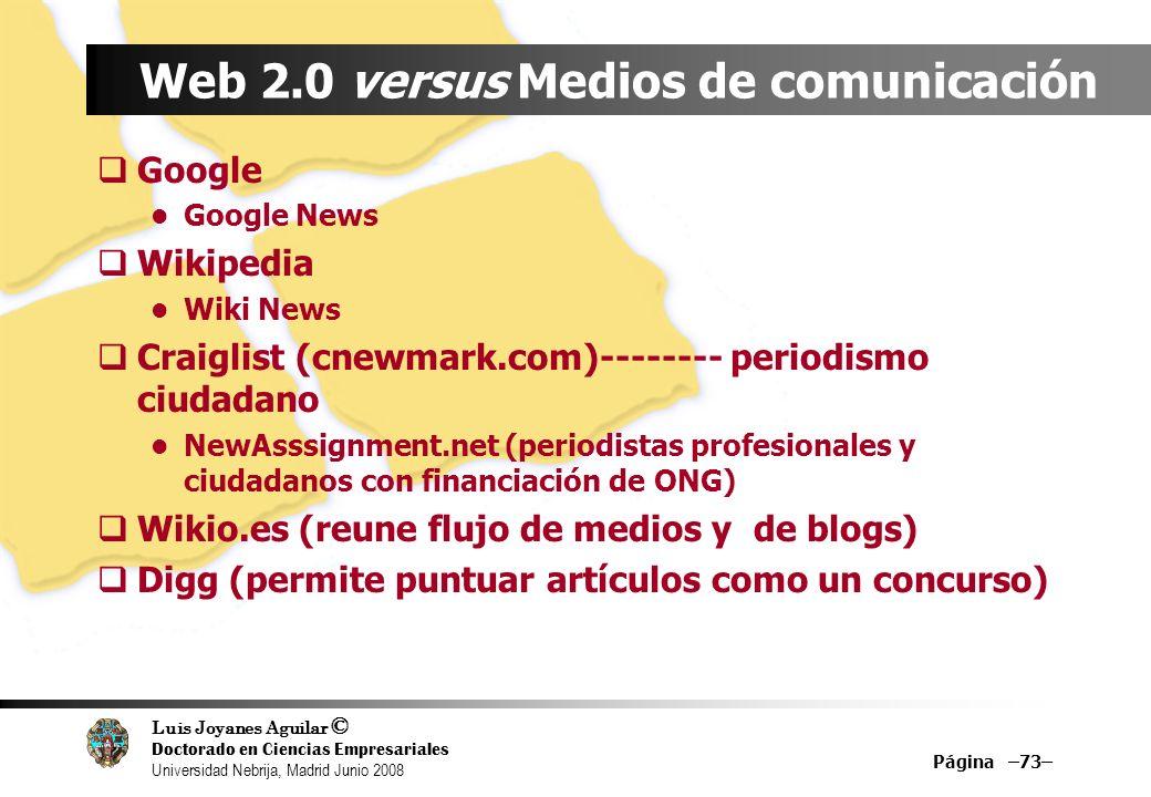 Web 2.0 versus Medios de comunicación