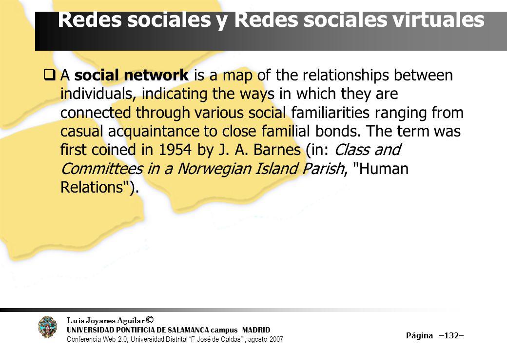 Redes sociales y Redes sociales virtuales