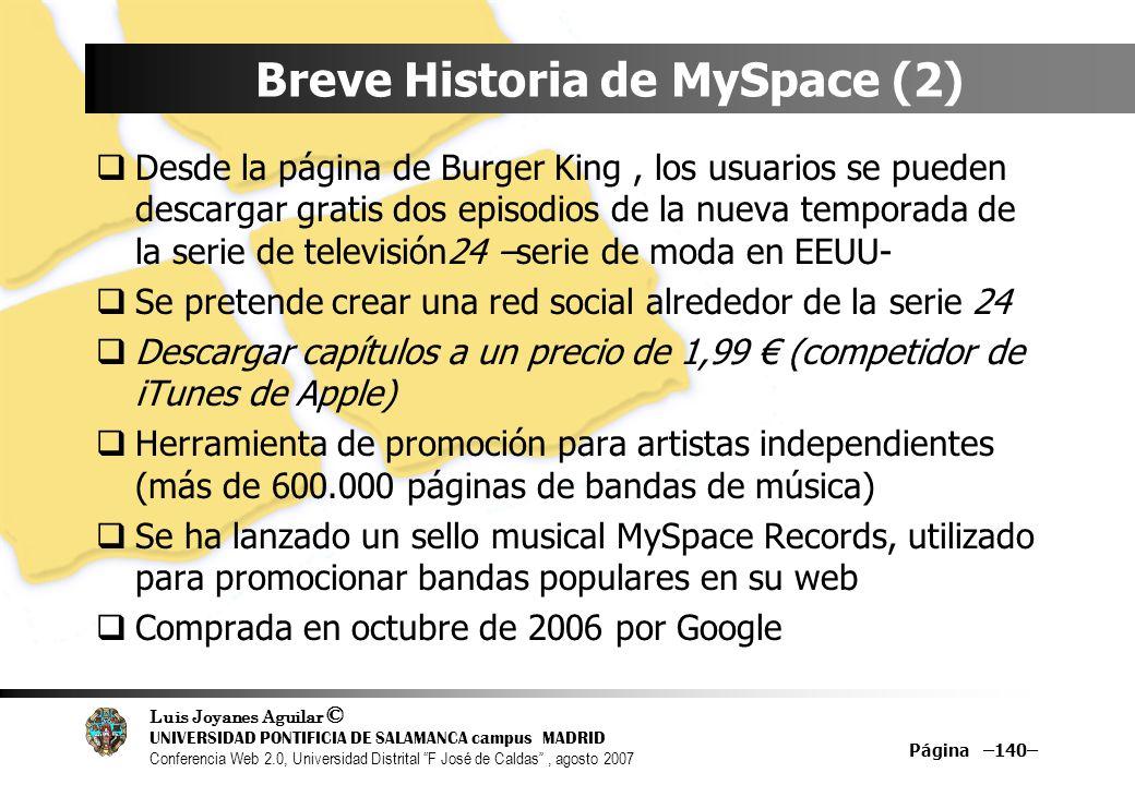Breve Historia de MySpace (2)