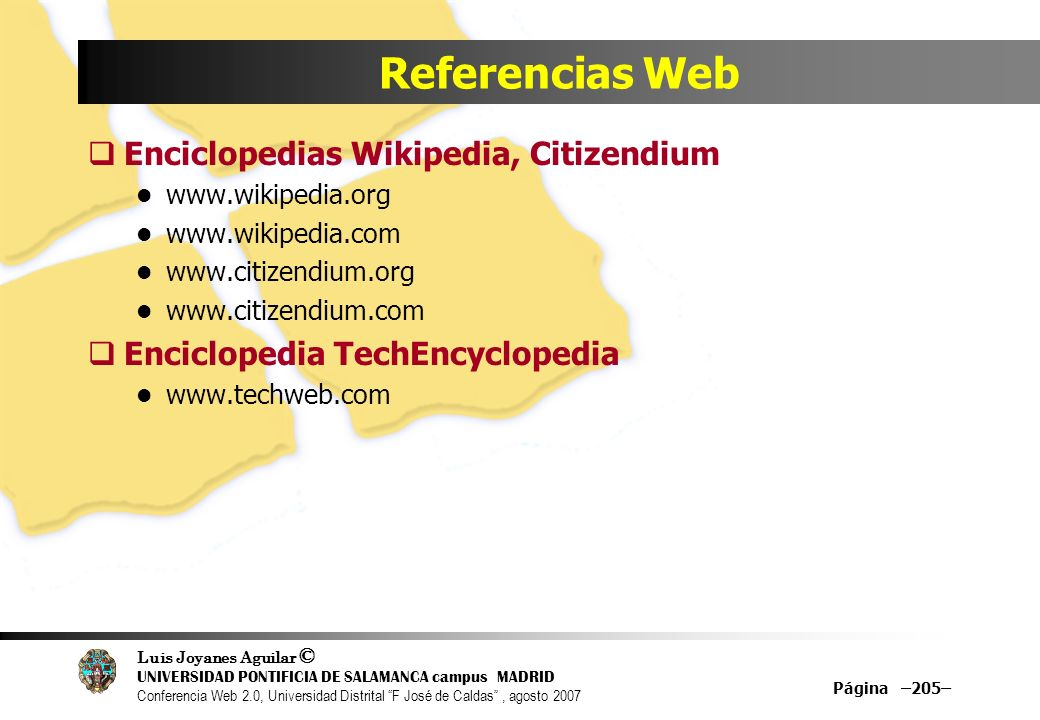 Referencias Web Enciclopedias Wikipedia, Citizendium