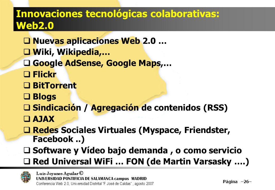 Innovaciones tecnológicas colaborativas: Web2.0