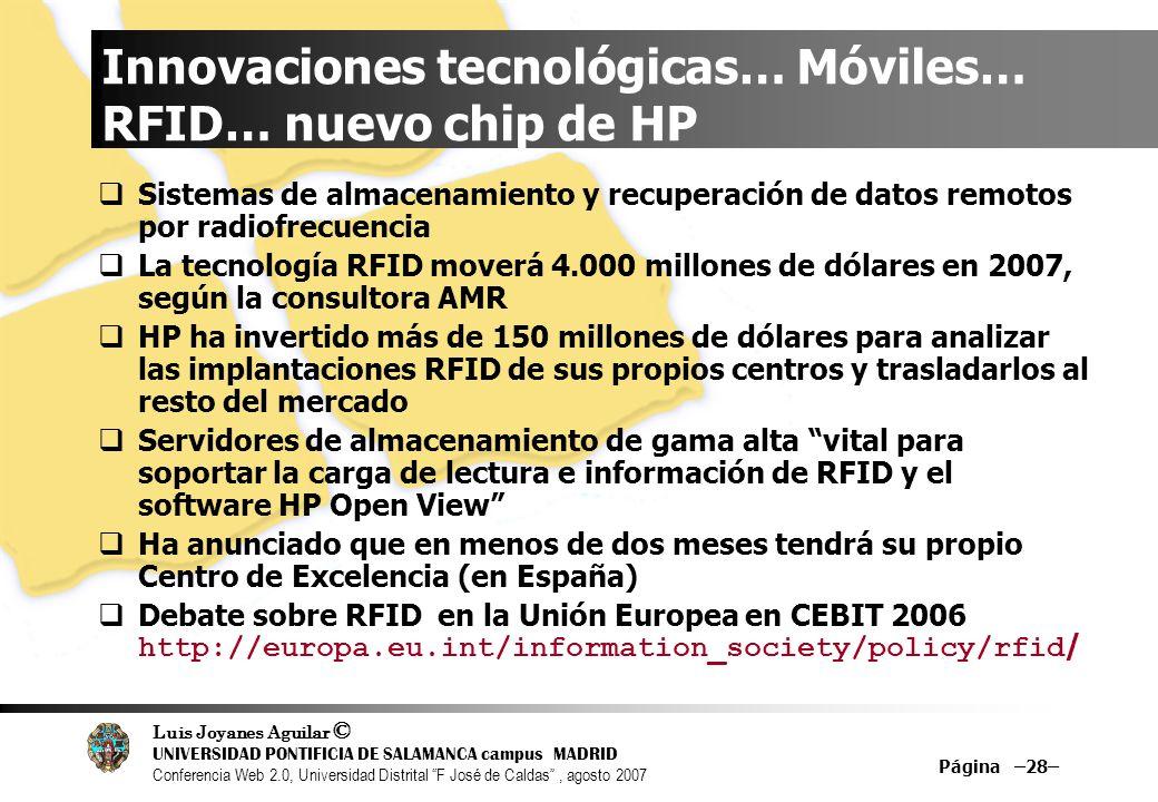 Innovaciones tecnológicas… Móviles… RFID… nuevo chip de HP