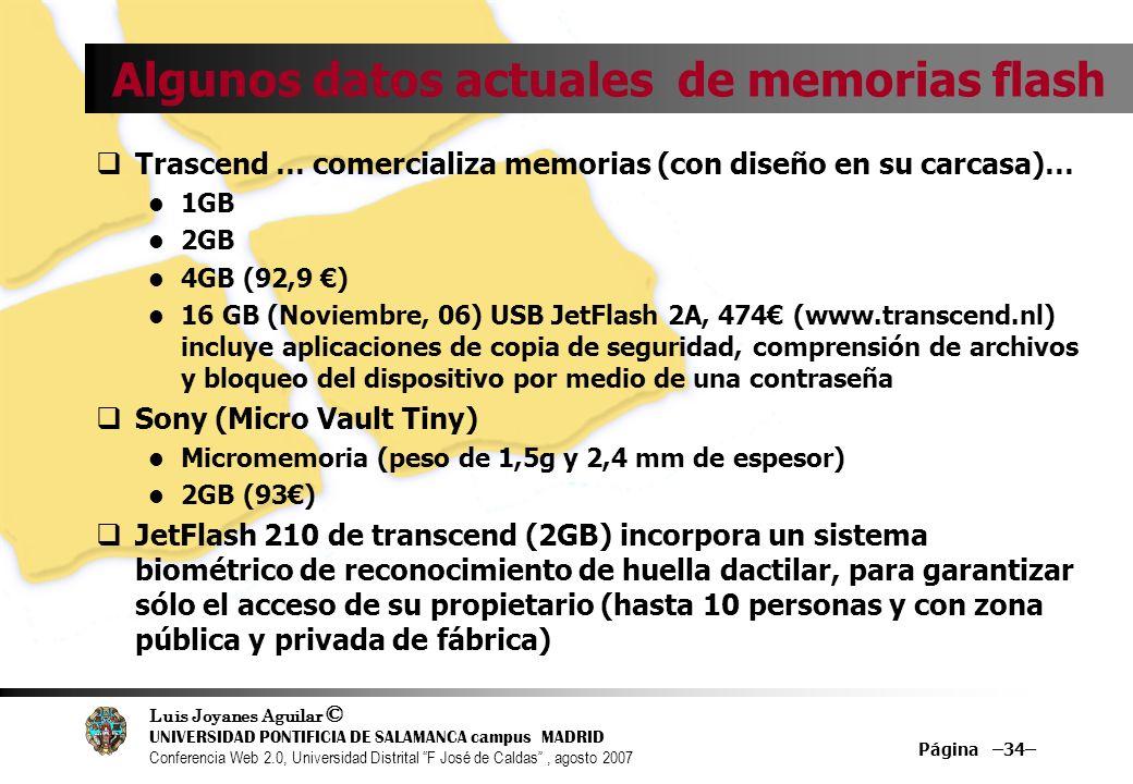 Algunos datos actuales de memorias flash