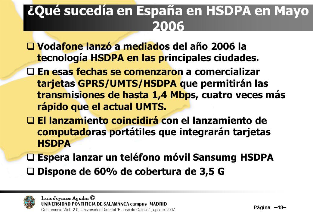 ¿Qué sucedía en España en HSDPA en Mayo 2006