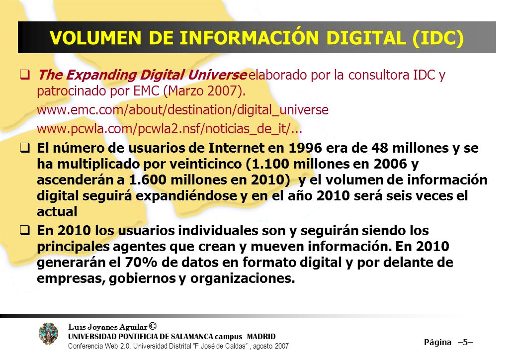 VOLUMEN DE INFORMACIÓN DIGITAL (IDC)