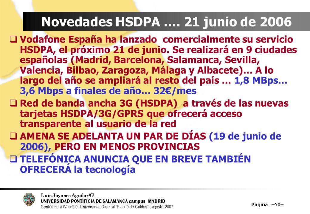 Novedades HSDPA …. 21 junio de 2006